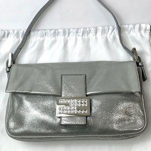 Authentic Fendi Silver Leather Baguette Swarovski